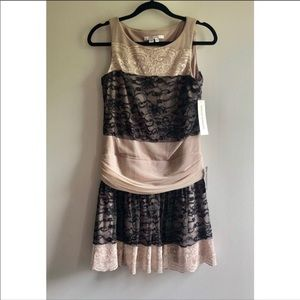 Maggy London Black and Nude Lace Dress Size 4